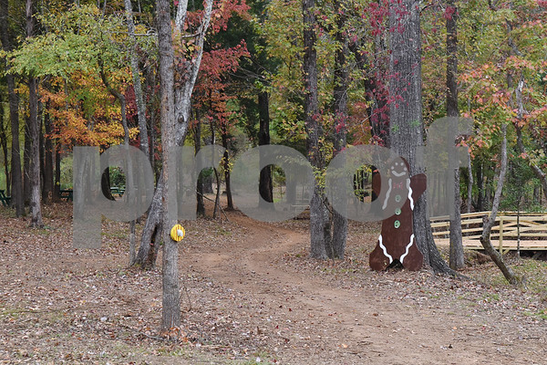 The treasure hunt and walking trail at Trail Creek Farm Lindale is pictured Tuesday Nov. 22, 2016. Trail Creek Farm is a Christmas tree farm that also offers family activities such as a zip line, picnic areas and bounce houses.  (Sarah A. Miller/Tyler Morning Telegraph)