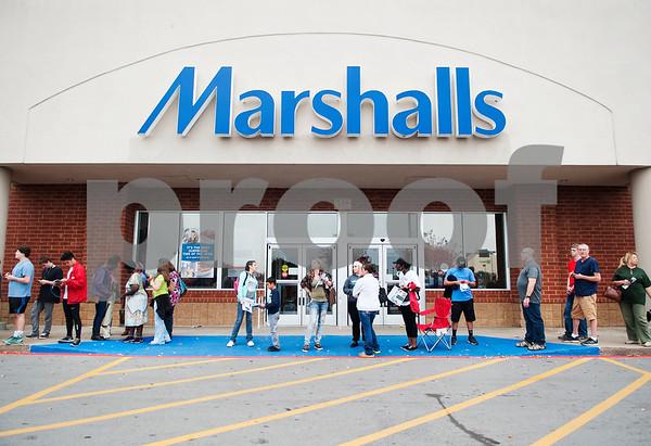 The line for Best Buy spills past Marshalls as shopper wait  for Black Friday sales on Thanksgiving Day Thursday Nov. 26, 2015 in Tyler, Texas.   (Sarah A. Miller/Tyler Morning Telegraph)