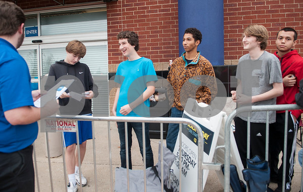 The very first shoppers in line at Best Buy receive vouchers for televisions they waited all night to buy Thursday Nov. 26, 2015 in Tyler, Texas.   (Sarah A. Miller/Tyler Morning Telegraph)