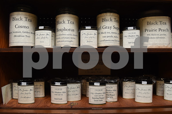Different varieties of tea are shelved at The Screen Door Antique Mall in Gladewater Wednesday Dec. 28, 2016. The antique shop sells hot and cold teas as well as coffee with a seating area and free wifi.   (Sarah A. Miller/Tyler Morning Telegraph)