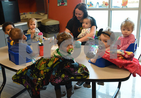 Children eat a snack at Mother's Day Out, a drop-in day care, Tuesday Nov. 29, 2016 at First Christian Church in Tyler. The program in open for children age 0-6 Monday through Friday.  (Sarah A. Miller/Tyler Morning Telegraph)