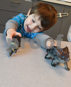 James Morgan, 2, plays with dinosaur toys at Mother's Day Out, a drop-in day care, Tuesday Nov. 29, 2016 at First Christian Church in Tyler. The program in open for children age 0-6 Monday through Friday.  (Sarah A. Miller/Tyler Morning Telegraph)