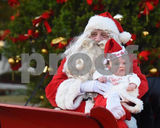 Santa Claus hold infant Madison Mercier during the 29th annual East Texas Medical Center Tyler  Christmas tree lighting Tuesday, Nov. 29, 2016.  (Sarah A. Miller/Tyler Morning Telegraph)