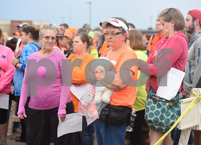 Brenda Davis of Whitehouse brough along a stuffed animal lamb to give to Kayla's family on the search for missing child Kayla Gomez-Orozco Saturday morning in Bullard. Hundreds of people gathered at Bullard High School at 7 a.m. to join in the effort to find the missing 10-year-old.  (Sarah A. Miller/Tyler Morning Telegraph)