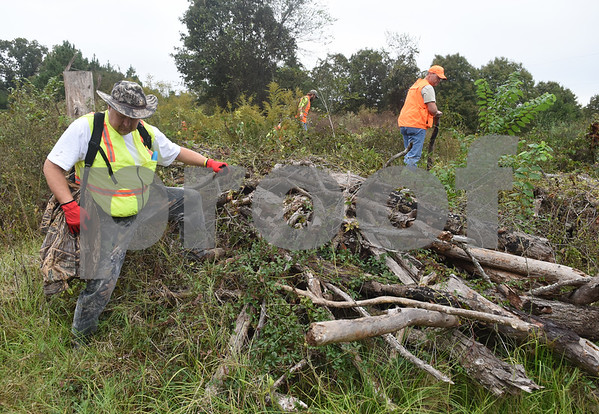 Volunteers cross land filled with brush looking for missing child Kayla Gomez-Orozco Saturday morning in Bullard. Hundreds of people gathered at Bullard High School at 7 a.m. to join in the effort to find the missing 10-year-old.  (Sarah A. Miller/Tyler Morning Telegraph)