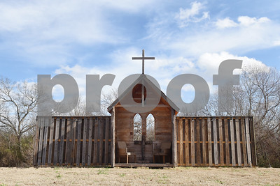 An outdoor church front used for weddings is pictured Tuesday Jan. 10, 2017 at McNair Farm in Athens.  (Sarah A. Miller/Tyler Morning Telegraph)