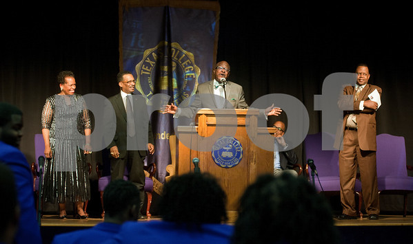 photo by Sarah A. Miller/Tyler Morning Telegraph  Tyler City Councilman Rev. Darryl Bowdre, center, gives the keynote speak during the Dare to Dream program Friday in observation of Martin Luther King Junior Day at Texas College's Martin Hall Auditorium. Also pictured are at left Texas College Coordinator for Alumni and External Affairs Rev. Orenthia Mason, Vice President of Student Affairs Dr. Willie C. Champion and at right campus minister Rev. T.J. Davis, Jr.