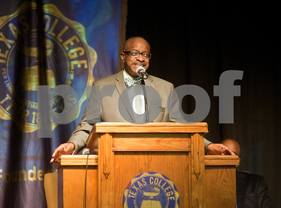 photo by Sarah A. Miller/Tyler Morning Telegraph  Tyler City Councilman Rev. Darryl Bowdre gives the keynote speak during the Dare to Dream program Friday in observation of Martin Luther King Junior Day at Texas College's Martin Hall Auditorium.