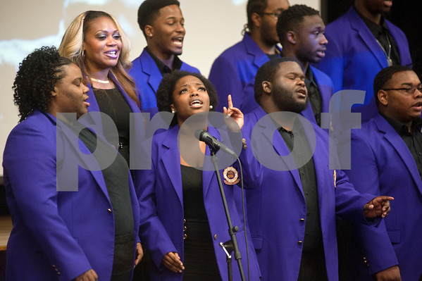 photo by Sarah A. Miller/Tyler Morning Telegraph  The Texas College Concert Choir performs during the Dare to Dream program Friday in observation of Martin Luther King Junior Day at Texas College's Martin Hall Auditorium.