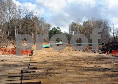 photo by Sarah A. Miller/Tyler Morning Telegraph The section of pipeline, pictured here, runs through a residential neighborhood near County Road 363, east of Winona, Texas. Three members of Tarsands Blockade were arrested Monday for criminal trespass after chaining themselves inside a section of pipe  destined for the TransCanada Keystone XL Pipeline project.