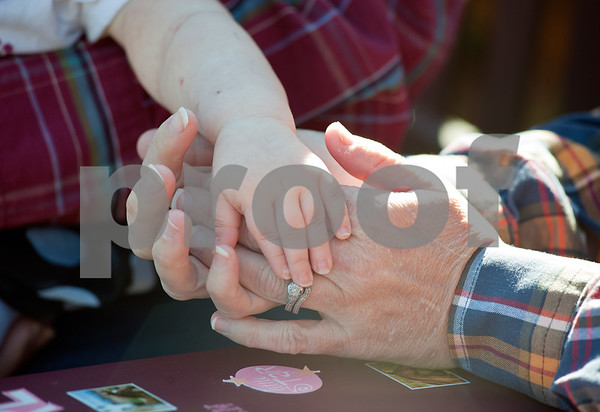 photo by Sarah A. Miller/Tyler Morning Telegraph  Tammy Wolven holds her daughter's hand Wednesday November 15 at the Children's Park in Tyler. Tiffany Wolven, 2, has three rare genetic disorders and the family frequently travels to Houston for medical treatment. The Wolvens are holding a fundraising to help pay for medical expenses. The Run for Hope Benefit Barrel Race event will be held Dec. 15 at Branded by Christ Cowboy Church in Rusk.