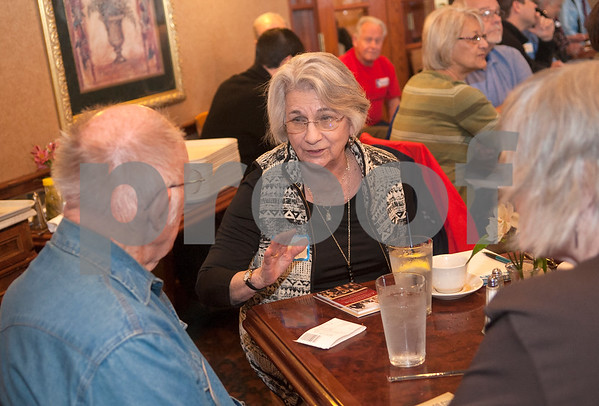 Shirley Lindsay of Tyler talks with Dick Berthouse of Whitehouse and Susan McFarland of Tyler before the start of the Sheriff Forum with candidate Chris Green and current sheriff Larry Smith held by the Smith County Republican Women at Traditions Restaurant & Catering in Tyler Thursday Jan. 21, 2016.  (Sarah A. Miller/Tyler Morning Telegraph)
