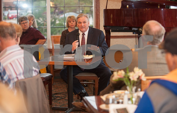 Sheriff Larry Smith answers a question during a forum with challenger Chris Green held by the Smith County Republican Women at Traditions Restaurant & Catering in Tyler Thursday Jan. 21, 2016.  (Sarah A. Miller/Tyler Morning Telegraph)