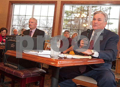 Sheriff Larry Smith, right, answers a question during a forum with challenger Chris Green, left, held by the Smith County Republican Women at Traditions Restaurant & Catering in Tyler Thursday Jan. 21, 2016.  (Sarah A. Miller/Tyler Morning Telegraph)