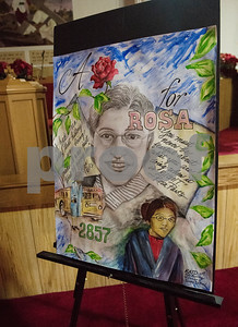 An art piece by Doris Batson is on display during the second annual Rosa Parks Day tour of historically significant areas of the city of Tyler on Friday Dec. 1, 2017. Tyler Transit Department and St. James CME Church hosted the free event which also included a program at the church and video presentation on African American history in the city of Tyler. Rosa Parks was known for refusing to give up her bus seat in the African American section of the bus to a white passenger when the whites-only section was full on Dec. 1, 1955 in Montgomery, Alabama.  (Sarah A. Miller/Tyler Morning Telegraph)
