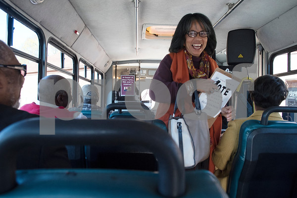 Sandra Nauls-Mast boards a Tyler Transit bus for the second annual Rosa Parks Day tour of historically significant areas of the city of Tyler on Friday Dec. 1, 2017. Tyler Transit Department and St. James CME Church hosted the free event which also included a program at the church and video presentation on African American history in the city of Tyler. Rosa Parks was known for refusing to give up her bus seat in the African American section of the bus to a white passenger when the whites-only section was full on Dec. 1, 1955 in Montgomery, Alabama.  (Sarah A. Miller/Tyler Morning Telegraph)