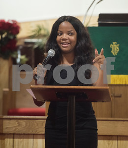 Nytesia Ross recites a poem during the program before the second annual Rosa Parks Day tour of historically significant areas of the city of Tyler on Friday Dec. 1, 2017. Tyler Transit Department and St. James CME Church hosted the free event which also included a program at the church and video presentation on African American history in the city of Tyler. Rosa Parks was known for refusing to give up her bus seat in the African American section of the bus to a white passenger when the whites-only section was full on Dec. 1, 1955 in Montgomery, Alabama.  (Sarah A. Miller/Tyler Morning Telegraph)