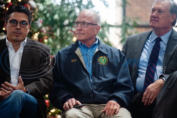 Texas Rep. Chris Paddie,  Texas State Senator Bob Hall and Texas Rep. Travis Clardy sit on stage and listen as Texas Rep. Dennis Bonnen, R-Angleton, (not pictured) speaks during a meet-and-greet in Tyler at the Rose Garden Center on Monday Dec. 17, 2018. Bonnen is the presumed speaker of the Texas House of Representatives.   (Sarah A. Miller/Tyler Morning Telegraph)