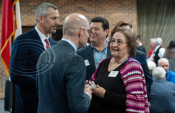 Texas Rep. Dennis Bonnen, R-Angleton, talks with Marian Hicks of Palestine during a meet-and-greet in Tyler at the Rose Garden Center on Monday Dec. 17, 2018. Bonnen is the presumed speaker of the Texas House of Representatives.   (Sarah A. Miller/Tyler Morning Telegraph)