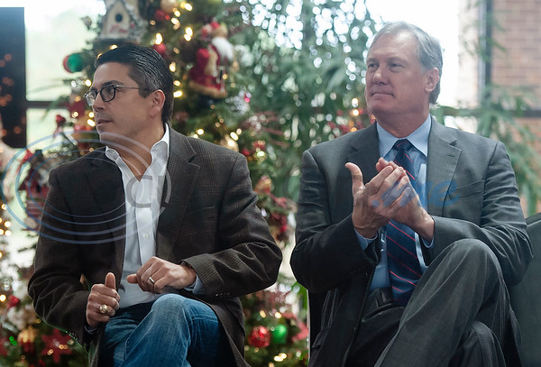 Texas Rep. Chris Paddie, and Texas Rep. Travis Clardy applaud as Texas Rep. Dennis Bonnen, R-Angleton, (not pictured) speaks during a meet-and-greet in Tyler at the Rose Garden Center on Monday Dec. 17, 2018. Bonnen is the presumed speaker of the Texas House of Representatives.   (Sarah A. Miller/Tyler Morning Telegraph)