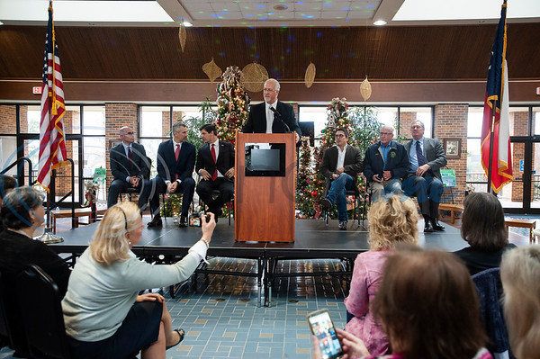 Tyler Mayor Martin Heines speaks at the podium during a meet and great with Texas Rep. Dennis Bonnen at the Rose Garden Center on Monday Dec. 17, 2018. Bonnen is the presumed speaker of the Texas House of Representatives.   (Sarah A. Miller/Tyler Morning Telegraph)