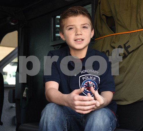 Corbin Glasscock, 8, takes a tour of an armored vehicle at the downtown Tyler Police Department Tuesday Dec. 27, 2016. Corbin Glasscock is a Make-A-Wish Foundation Wish Kid. A donor purchased the opportunity for Glasscock to be Police Chief for a Day.  (Sarah A. Miller/Tyler Morning Telegraph)