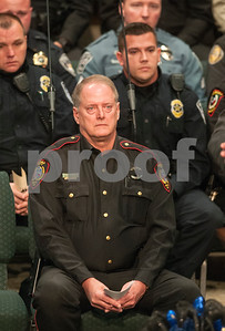 Smith County Constable Kenneth Bibby attends the memorial service for K-9 officer Ogar Saturday Jan. 23, 2016 held at First Baptist Church in Lindale, Texas. K-9 officer Ogar was slain while chasing a suspect after a traffic stop Tuesday Jan. 19. Several hundred people came to the memorial including many area K-9 handlers and officers. Ogar had been with Constable Kevin Petty for a little more than a year.   (Sarah A. Miller/Tyler Morning Telegraph)