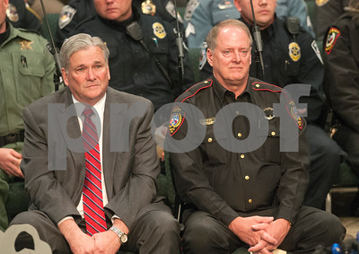 Smith County Sheriff Larry Smith sits with Smith County Constable Kenneth Bibby during the memorial service for K-9 officer Ogar Saturday Jan. 23, 2016 held at First Baptist Church in Lindale, Texas. K-9 officer Ogar was slain while chasing a suspect after a traffic stop Tuesday Jan. 19. Several hundred people came to the memorial including many area K-9 handlers and officers. Ogar had been with Constable Kevin Petty for a little more than a year.   (Sarah A. Miller/Tyler Morning Telegraph)