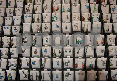 Jewelry made using rocks, gems and minerals is for sale at the East Texas Gem and Mineral Society's 22nd annual jewelry, rock, mineral and fossil show at the Tyler Rose Garden Center on January 26, 2018. The show continues through Jan. 28.  (Sarah A. Miller/Tyler Morning Telegraph)