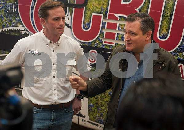 United States Congressional candidate Jason Wright and United States Senator Ted Cruz speak to the media at the Grassroots America – We the People's Northeast Texas Conservative Superstars 2018 Primary Election Kick-off held on Saturday Jan. 27, 2018 at Rio Neches Cattle Company in Tyler, Texas. Cruz and Lt. Gov. Dan Patrick of Texas spoke and other Grassroots America-endorsed candidates attended the event such as U.S. Congressional candidate Jason Wright, State Representative Matt Schaefer, District Attorney candidate Jacob Putman, and 321st District Court Judicial candidate Robert Wilson.   (Sarah A. Miller/Tyler Morning Telegraph)