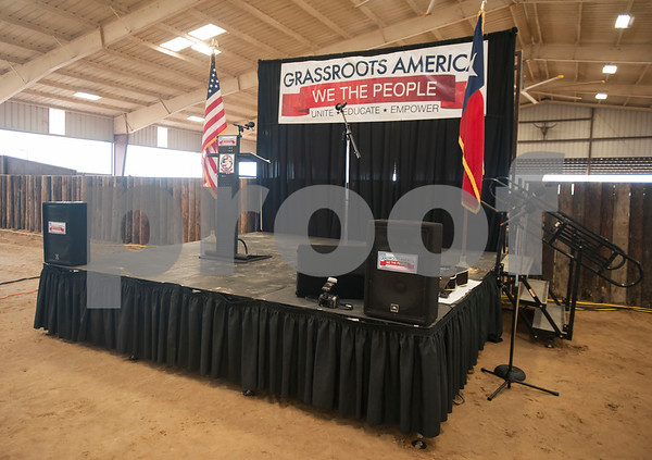 The stage is set for the Grassroots America – We the People's Northeast Texas Conservative Superstars 2018 Primary Election Kick-off held on Saturday Jan. 27, 2018 at Rio Neches Cattle Company in Tyler, Texas.   (Sarah A. Miller/Tyler Morning Telegraph)