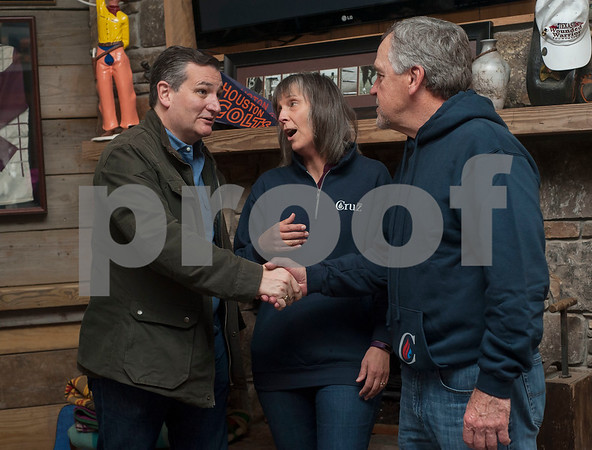 United States Senator Ted Cruz meets Sylvia Coulson and Mark Coulson of Waxahacie during the Grassroots America – We the People's Northeast Texas Conservative Superstars 2018 Primary Election Kick-off held on Saturday Jan. 27, 2018 at Rio Neches Cattle Company in Tyler, Texas. Cruz and Lt. Gov. Dan Patrick of Texas spoke and other Grassroots America-endorsed candidates attended the event such as U.S. Congressional candidate Jason Wright, State Representative Matt Schaefer, District Attorney candidate Jacob Putman, and 321st District Court Judicial candidate Robert Wilson.   (Sarah A. Miller/Tyler Morning Telegraph)