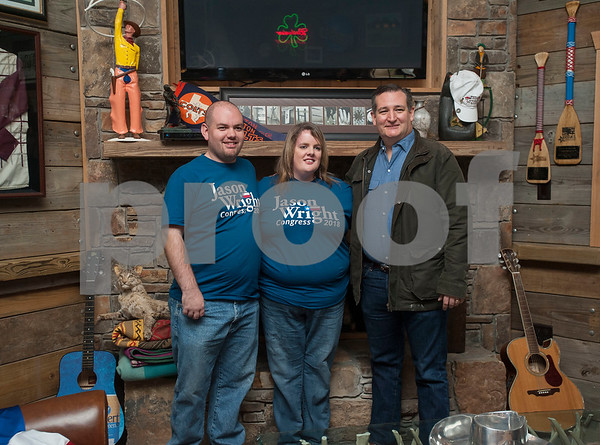 Jason Singletary and Angela Singletary of Box Springs take a photo with United States Senator Ted Cruz during the Grassroots America – We the People's Northeast Texas Conservative Superstars 2018 Primary Election Kick-off held on Saturday Jan. 27, 2018 at Rio Neches Cattle Company in Tyler, Texas. Cruz and Lt. Gov. Dan Patrick of Texas spoke and other Grassroots America-endorsed candidates attended the event such as U.S. Congressional candidate Jason Wright, State Representative Matt Schaefer, District Attorney candidate Jacob Putman, and 321st District Court Judicial candidate Robert Wilson.   (Sarah A. Miller/Tyler Morning Telegraph)