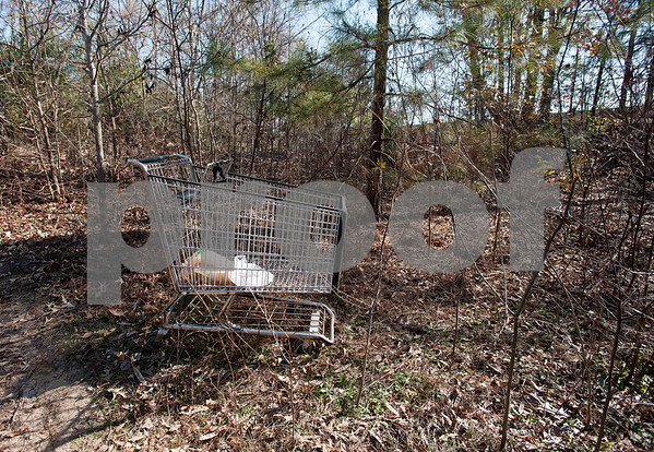 photo by Sarah A. Miller/Tyler Morning Telegraph  A shopping cart sits abandoned along the trail heading through the Tent City homeless area in a wooded area of Tyler Tuesday. Homeless men and women were told to leave this camping area which is on Union Pacific property Monday night.