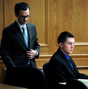 John Gifford (left) and Kevin McGregor (right) listen the prosecution argue about witness testimony  during the at the start of the afternoon session of his trial at the Boulder County Justice Center in Boulder, Colorado January 30, 2012. McGregor is charged with the murder of Todd Walker in March of 2011. Paul Aiken / The Camera