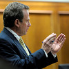Prosecutor Stan Garnett questions Detective Chuck Heidel during the third day of Kevin McGregor's trial at the Boulder County Justice Center in Boulder, Colorado January 30, 2012.  McGregor is charged with the murder of Todd Walker in March of 2011. CAMERA/MARK LEFFINGWELL