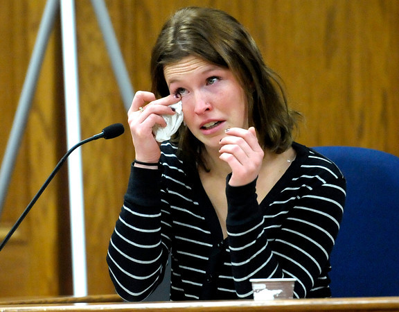Jennifer Erin Kennedy, Which Wich manager, wipes a tear from her eye while recalling what went happened March 18th, 2011 during the third day of Kevin McGregor's trial at the Boulder County Justice Center in Boulder, Colorado January 30, 2012.  McGregor is charged with the murder of Todd Walker in March of 2011. CAMERA/MARK LEFFINGWELL