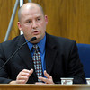 Detective Kurt Foster returns to the witness stand for more questioning during the third day of Kevin McGregor's trial at the Boulder County Justice Center in Boulder, Colorado January 30, 2012.  McGregor is charged with the murder of Todd Walker in March of 2011. CAMERA/MARK LEFFINGWELL