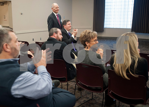 People applaud at the announcement that Christus Trinity Clinic, part of Christus Health, won the American Medical Group Association's 2017 Acclaim Award on Tuesday Jan. 30, 2018.   (Sarah A. Miller/Tyler Morning Telegraph)