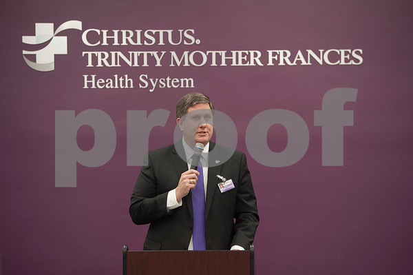 Christus Trinity Mother Frances President and Chief Executive Officer Chris Glenney speaks at the announcement that Christus Trinity Clinic, part of Christus Health, won the American Medical Group Association's 2017 Acclaim Award on Tuesday Jan. 30, 2018.   (Sarah A. Miller/Tyler Morning Telegraph)