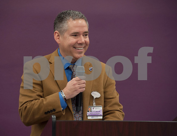 Scott Smith of Christus Trinity Mother Frances speaks at the announcement that Christus Trinity Clinic, part of Christus Health, won the American Medical Group Association's 2017 Acclaim Award on Tuesday Jan. 30, 2018.   (Sarah A. Miller/Tyler Morning Telegraph)