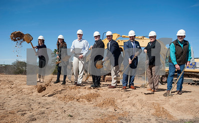 Representatives from the East Texas Food Bank, contractors and government officials break ground on a new $3 million expansion for the The East Texas Food Bank on Wednesday Jan. 31, 2018. Pictured from left: Mary Alice Guidry, Brandy Ziegler, Martin Heines, Bryan Jacobe,  Dennis Cullinane, Gregg Davis, Tom Mullins and Matt Harris.  (Sarah A. Miller/Tyler Morning Telegraph)
