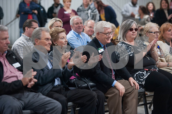 People applaud as East Texas Food Bank CEO Dennis Cullinane speaks during the groundbreaking ceremony for a new $3 million expansion for the The East Texas Food Bank on Wednesday Jan. 31, 2018.   (Sarah A. Miller/Tyler Morning Telegraph)