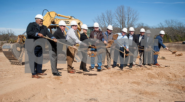 Dirt is moved at the groundbreaking ceremony for a new $3 million expansion for the The East Texas Food Bank on Wednesday Jan. 31, 2018.   (Sarah A. Miller/Tyler Morning Telegraph)