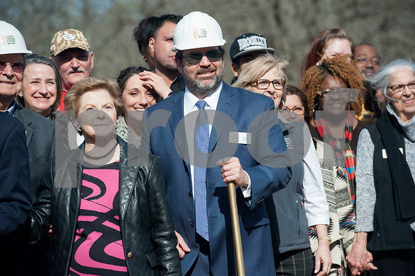 Gregg Davis of the East Texas Food Bank, center, attends the groundbreaking ceremony for a new $3 million expansion for the The East Texas Food Bank on Wednesday Jan. 31, 2018.   (Sarah A. Miller/Tyler Morning Telegraph)
