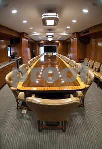 A large boardroom table inside the People's Petroleum Building in downtown Tyler is available for tenants to use.  (Sarah A. Miller/Tyler Morning Telegraph)