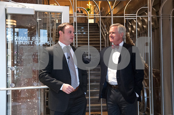 Current owners and developers Garnett Brookshire and Tim Brookshire are pictured in the lobby talking about the renovations they have made to The People's Petroleum Building in downtown Tyler. When the Brookshires and Andy Bergfeld purchased the commercial building is was only 7 percent occupied, and now it is over 70 percent occupied.   (Sarah A. Miller/Tyler Morning Telegraph)