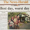 "Sue Wyant submitted this image of The News-Herald on July 26, 2008. She and husband Chris got married the day after the flood. Sue says: ""I was rescued from the rooftop of Gristmill Condominiums in a rescue boat, much like the one shown above, by a Parkman Firefighter. As the 911 dispatchers told us to start packing a bag of ""basic necessities"" to take on the boat - we were scrambling to find our marriage license, wedding rings, etc.....We even pulled the flower girl's dress out of the water just in time! We lost almost everything, had 17 feet of water in our condo after it was all said and done, and GOT MARRIED the very next day (and then were homeless and had to rebuild our lives from scratch - talk about ""For Richer or Poorer"")! It truly was the Worst Day, followed by the Best Day. I learned a truly valuable lesson that day...material items can be replaced but Love, whether it be from a brand new spouse, your child(ren), family & friends and community is a commodity that will never be worthy of any price tag, even in the deepest of waters or darkest of times. God is good and we have a beautiful family..but we'll never forget the most intense, harrowing, exciting and overwhelming week of our lives!!"""