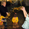 Globe/T. Rob Brown<br /> Susan Dillard and her autistic children throw fall willow leaves around in the yard of their Carl Junction home in Briarbrook Tuesday afternoon, Nov. 28, 2006. Pictured from left: Regan, 4; Susan; Savannah, 3; and Hayden, 6.<br /> Section: People