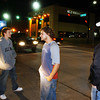 Globe/T. Rob Brown<br /> Robert Wright (left) of Neosho, Andy Owens (center), 17, of Spring City, and Cody Harris of Neosho stand around, visit and watch drivers pass on Main Street Joplin Friday night, Oct. 27, 2006. They like to hang out downtown, visit with friends and make new friends.<br /> Section: News